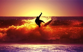 Preview wallpaper Sea sunset surf people