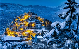 Preview wallpaper Snow winter, mountains, forest, village, evening, dusk, lights