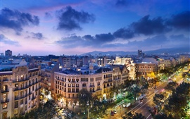 Spain, Barcelona, city night, street, road, architecture, lights, clouds