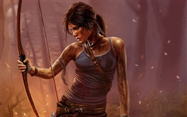 Preview wallpaper Tomb Raider, Lara Croft, PC game, night, bow