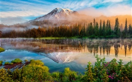 Preview wallpaper Washington, Cascade Mountains, morning, forest, lake, mist, sunrise