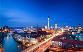 Alexanderplatz, Берлин, Германия, город ночь, вечер, дом, огни