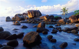 Preview wallpaper Anse Soleil, Mahe Island, Seychelles, coast, stones