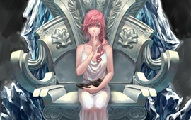 Preview wallpaper Art picture, Final Fantasy 13, pink hair girl, blue eyes