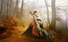 Preview wallpaper Beautiful guitar girl in the forest