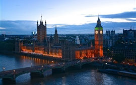 Preview wallpaper England, London, evening dusk, lights, bridge, river, buildings