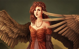 Preview wallpaper Fantasy art girl, wings, angel, red hair, curls