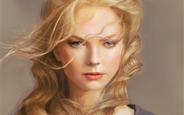 Preview wallpaper Fantasy girl, art, blonde hair, wind