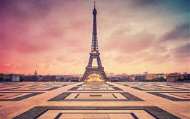 France, Paris, Eiffel Tower, evening, dusk