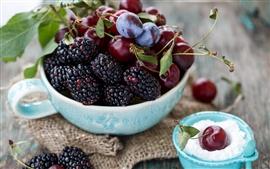 Frutas, frutas vermelhas, amoras, cerejas, ameixas