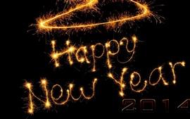 Aperçu fond d'écran Happy New Year 2014 feux d'artifice