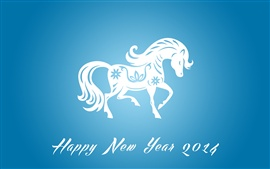Preview wallpaper Happy New Year 2014, horse year, blue
