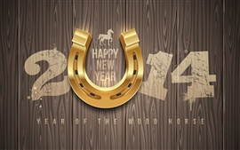 Preview wallpaper Happy New Year 2014, wood, horse