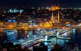Istanbul, Turkey, night lights, city, buildings, bridge, water