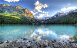 Preview wallpaper Lake water reflection, mountains, forest, sky, rocks, clouds