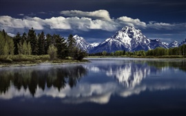 Preview wallpaper Mount Moran, Snake River, Grand Teton National Park, water reflection