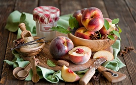 Preview wallpaper Nectarine fruit, peaches, sugar, board, still life