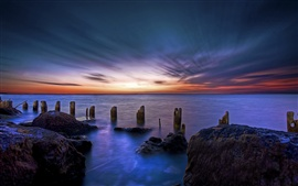 Ocean sunrise, dawn, stones, nature landscape