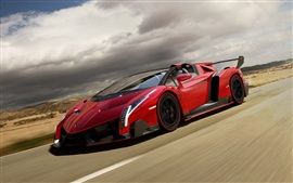 Preview wallpaper Red Lamborghini Veneno Roadster supercar in road