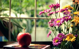 Preview wallpaper Still life, red apple, pink yellow flowers, window, book