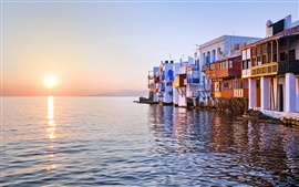Preview wallpaper Sunset reflected over sea, Little Venice, Mykonos, Greece, house