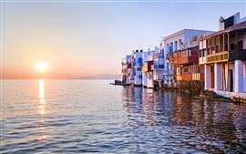 壁紙のプレビュー 夕日が海に反射し、リトルヴェネツィア、ミコノス島、ギリシャ、家