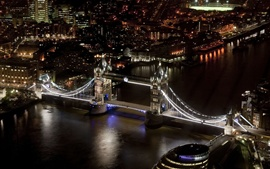 Preview wallpaper Tower Bridge, London, England, river, night city, buildings, black style