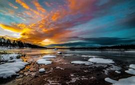 Vorschau des Hintergrundbilder Bäume, See, Schnee, Eis, Winter, Morgen, Sonnenaufgang