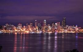 США, Вашингтон, Сиэтл, город ночь, огни, здания, река