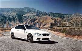 White BMW M3 car, 1013MM, mountains, windmill