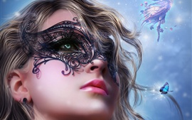 Preview wallpaper Art fantasy girl face, mask, fairy