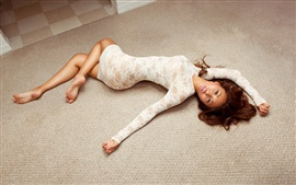 Preview wallpaper Asian girl pose, lying the floor
