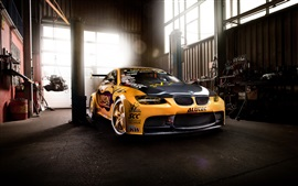 BMW M3 supercar, garage, yellow
