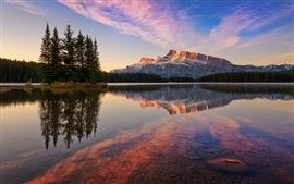 Preview wallpaper Banff National Park, Canada, Jack Lake, forest, mountains, sky, sunset