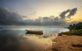 Preview wallpaper Bay, beach, boat, sea, dawn, clouds