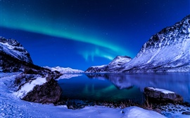 Preview wallpaper Beautiful sky, night, winter, Iceland, Northern Lights