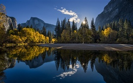 Preview wallpaper California, Yosemite National Park, mountains, forest, lake, sunrise