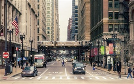 Chicago city street, buildings, people, cars