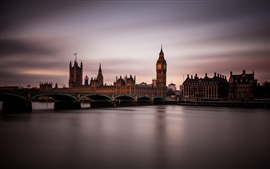 England, London, night, twilight, city, bridge, house