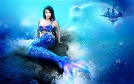 Preview wallpaper Fantasy girl, mermaid, sea, underwater