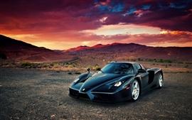 Ferrari Enzo supercar, desert, sunset, clouds