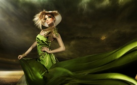 Preview wallpaper Green dress fashionable girl