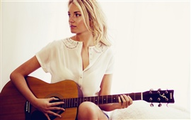 Preview wallpaper Guitar girl, white dress, blonde