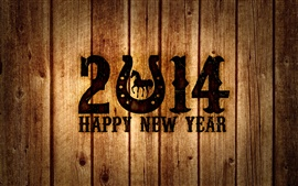 Preview wallpaper Happy New Year 2014, wood board, Horse Year