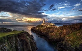 Preview wallpaper Ireland, lighthouse, ocean, seascape, sunset, clouds
