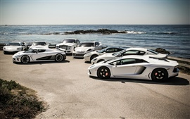 Preview wallpaper Lamborghini, Maserati, Ferrari, Porsche, Mercedes-Benz, sea, coast