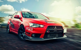 Mitsubishi Lancer Evolution X, supercar rojo