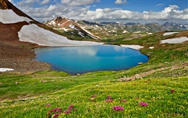 Preview wallpaper Nature landscape, spring, sky, clouds, mountains, lake, grass