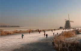 Netherlands, winter, mill, ice river