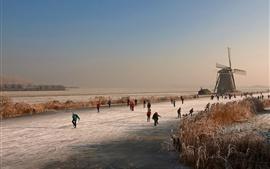 壁紙のプレビュー オランダ、冬、ミル、氷の川